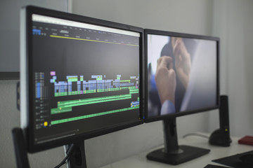 Close up view of a screen while video editing Wall mural