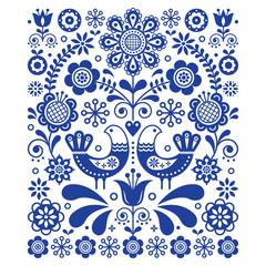 Scandinavian cute folk art vector decoration with birds and flowers, Scandinavian navy blue floral pattern