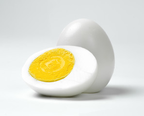 Boiled chicken eggs on a white background.