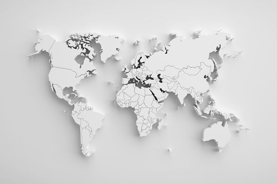 White paper earth 3d map.