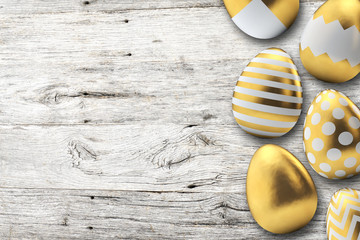 Gold pattern easter eggs on a wooden background. 3D Rendering