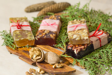 marmelade bars with nuts, granola organic snacks with fruits