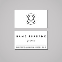Business card hipster style with skull logo and circle (vector).