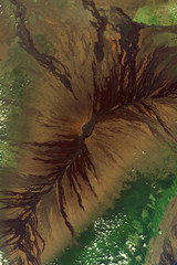 Mauna Loa Volcano located on Big Island of Hawaii and its lava flows seen from space - Modified elements of this image furnished by ESA