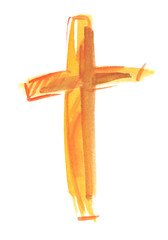 Simple abstract golden cross painted in watercolor on clean white background