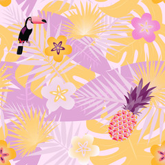 Pattern background. Seamless pattern of tropical forest, toucan and pineapple in trendy color tones.