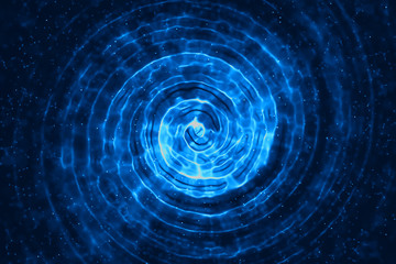 Fotoväggar - abstract 3D rendering concentric lines digital glitter sparks blue particles with circle shape flowing on blue background, new technology energy concept