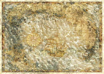 Background with concept of antique pirate treasures map. Pirate adventures, treasure hunt and old transportation concept. Vintage hand drawn illustration