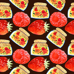 Seamless pattern of a sweet berry jam. Watercolor illustration.