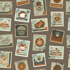 Retro Postage Seamless Background. Vector seamless pattern on coffee and coffee house theme with postage stamps and postmarks in retro style. Can be used as wallpaper or wrapping paper