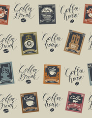 Vector seamless pattern with postage stamps and handwritten inscriptions on coffee and coffeehouse theme in retro style on beige background. Can be used as wallpaper or wrapping paper