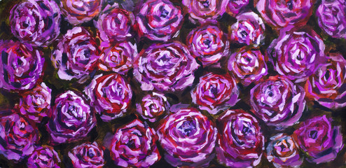 Abstract violet flowers rose peony close-up oil painting flower background