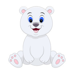 Cute cartoon polar bear. Vector illustration isolated on white