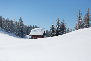 Fototapete - Eingeschneite Skihütte. Winterlandschaft in den österreichischen Alpen