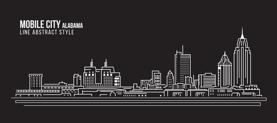Cityscape Building Line art Vector Illustration design - Mobile city (Alabama)