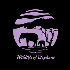 Wildlife of Elephant with Mother and child elephant and tree in circle banner sign vector design
