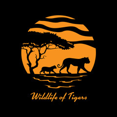 Wildlife of tiger with tiger family and tree in circle banner sign vector design