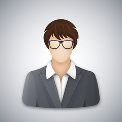 Icon or avatar of a business woman or office worker in glasses. A successful young woman with a short haircut dressed in a gray business suit and white blouse. Vector illustration