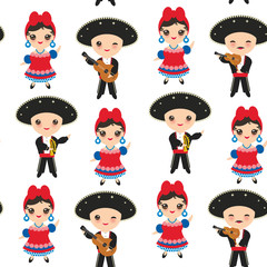 Seamless pattern Cubans boy and girl in national costume and hat Cartoon children in traditional Cuba dress, Mariachi group Musical guitar, viola, violin, trumpet. Isolated on white background. Vector