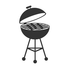 Pictograph of barbecue. Flat vector illustration in black on white background.