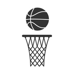 Basketball hoop and ball icon. Flat vector illustration in black on white background.