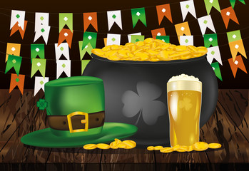 Pot of gold coins against the background of green flags. Hat and beer for St. Patrick's Day. Invitation or greeting card for the holiday. Free space for text or advertising. Vector.