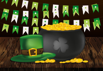 Pot of gold coins on a wooden background and green flags. Hat for St. Patrick's Day. Invitation or greeting card for the holiday. Free space for text or advertising. Vector