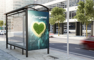 Poster de jardin Océanie bus stop honeymoon advertising billboard