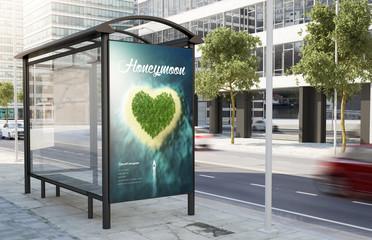 Staande foto Oceanië bus stop honeymoon advertising billboard