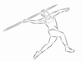 illustration of figure javelin thrower , vector draw