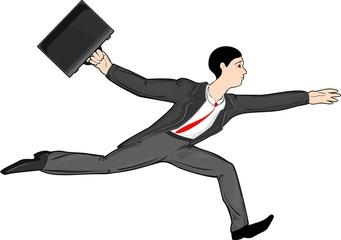 Running businessman with attache case