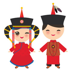 Mongolian boy and girl in red national costume and hat. Cartoon children in traditional dress. Vector