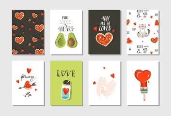 Hand drawn vector abstract modern cartoon Happy Valentines day concept illustrations cards set collectionwith cute cats,pizza,hearts,avocado and handwritten calligraphy isolated on white background