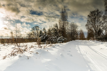 Picture of snowy landscape and cloudy sky