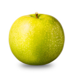 Single green apple isolated on white background with clipping path and shiny reflections