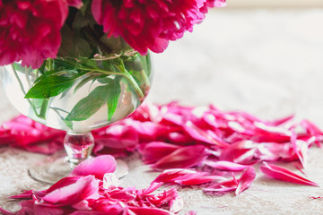 red peonies in glass vase stand on table
