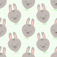 Cute baby pattern with little bunny. Cartoon animal boy print vector seamless. Striped background with funny rabbit face for children t-shirt fabric, kids bedroom textile, nursery, birthday party.