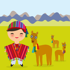 Peruvian boy in national costume Red striped poncho and hat. Cartoon children in traditional dress Landscape with mountains, green grass, llamas. Vector