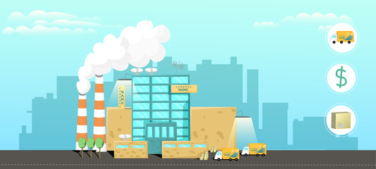 Cartoon style. Plant in the city. Factory of production with the main office. City landscape.
