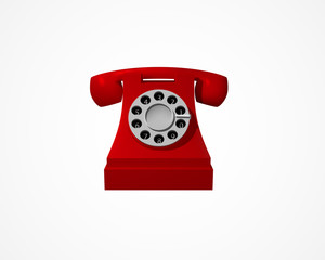 Red vintage phone. Telephone isolated on white background. Vector
