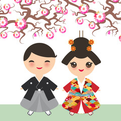 Japanese boy girl in national costume kimono, Cartoon children in traditional dress. Sakura flowers blossom pink Cherry tree brown branches card banner design pastel colors on white background. Vector