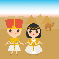 Ancient Egypt boy and girl in national costume and hat. Landscape, pyramids, sky, desert, camel. Cartoon children in traditional dress. Vector