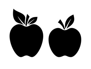 Two apple silhouette vector illustration