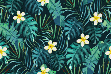 Tropical seamless pattern. Palm tree leaves and flower. Hand drawn vector illustration. Summer background