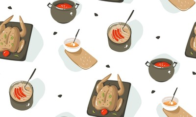 Hand drawn vector abstract modern cartoon cooking time fun illustrations icons seamless pattern with cooking equipment,vegetables,food and kitchen utensils isolated on white background