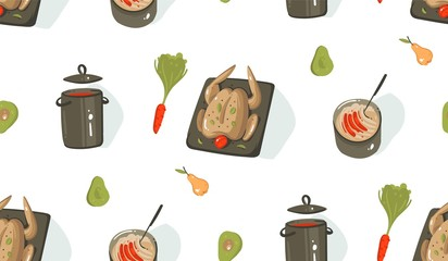 Hand drawn vector abstract modern cartoon cooking time fun illustrations icons seamless pattern with cooking equipment,vegetables,food and chicken isolated on white background