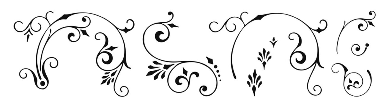 Vintage calligraphic decoration elements set #isolated #vector