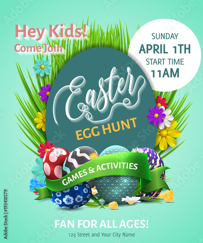 Easter Poster Vector Illustration Easter Egg Hunt Invitation Flyer