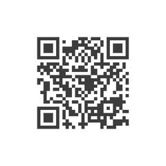 Vector QR code sample for scanning. Black vector illustration on white background.
