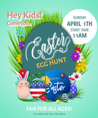 Easter poster. Vector illustration. Easter egg hunt invitation flyer or poster. Kids concept poster invitation easter party.